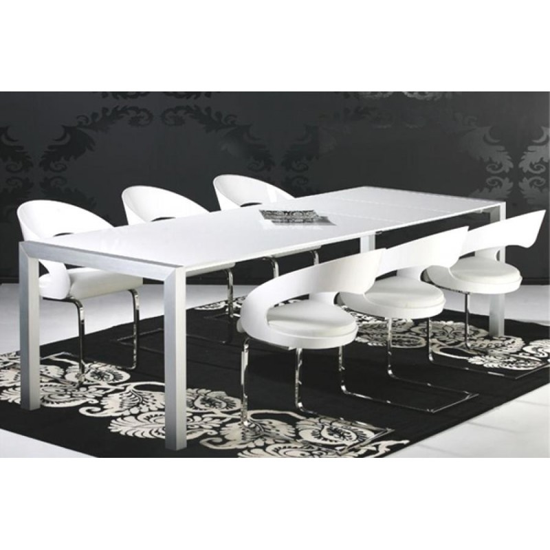 Table de salle manger extensible 170 260cm blanc brillant for Table salle a manger blanc