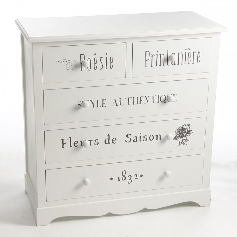 Commode 5 tiroirs eklor blanc - Commode 5 tiroirs blanc ...