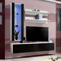 "Meuble TV Mural Design ""Fly II"" 170cm Noir & Blanc"