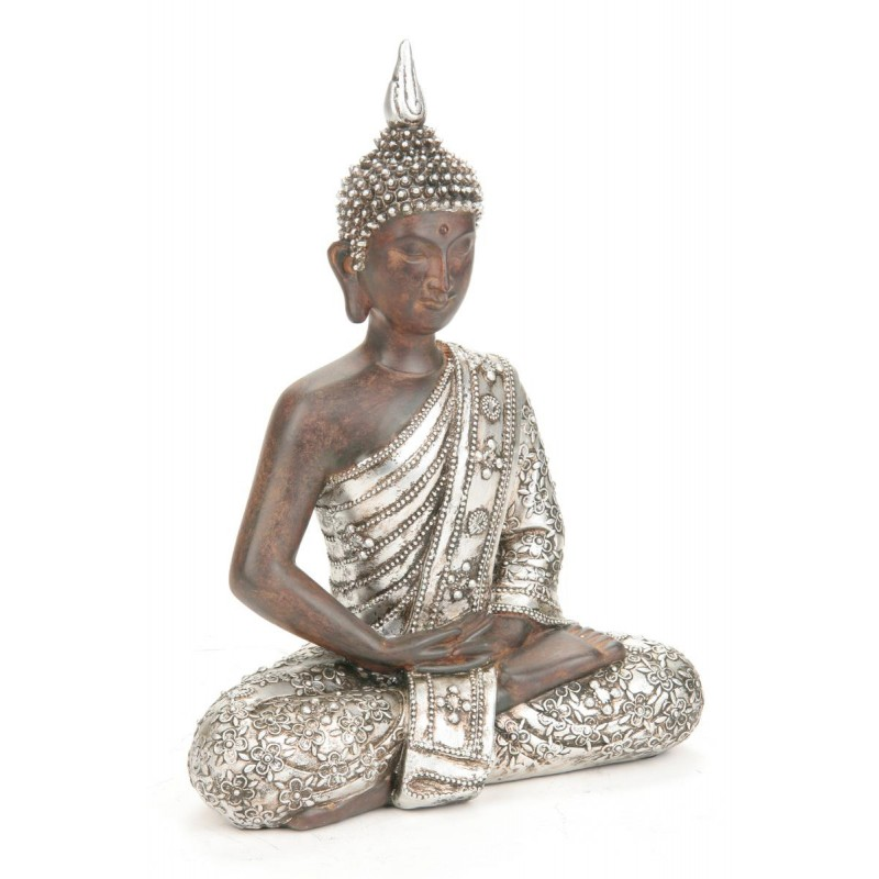 Statue bouddha argent 28cm for Exemple de decoration de jardin