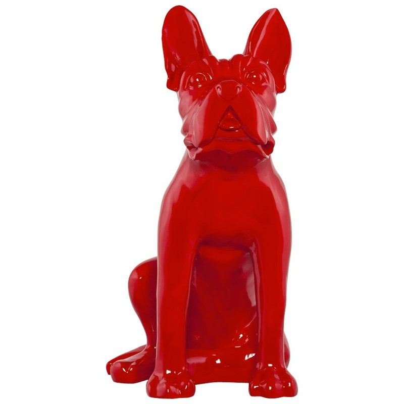 Statue d co dog rouge for Statue deco salon
