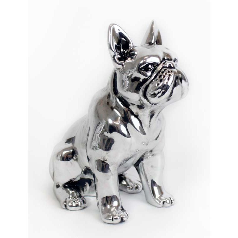 statue d co bulldog silver 17 cm. Black Bedroom Furniture Sets. Home Design Ideas