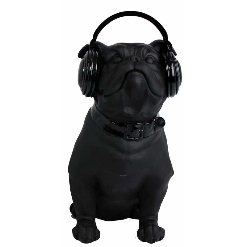 Statue d co bulldog casque noir 20 cm for Statue deco salon